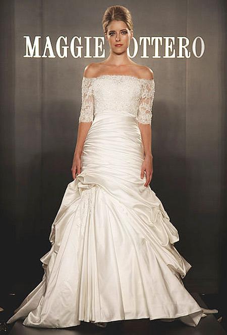 Váy vai ngang cũng có thể thực hiện từ chất liệu ren.
