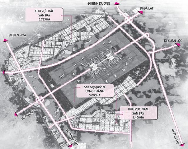 Sơ đồ cơ cấu phân vùng chức năng sân bay Long Thành - Nguồn: Sở Xây dựng Đồng Nai