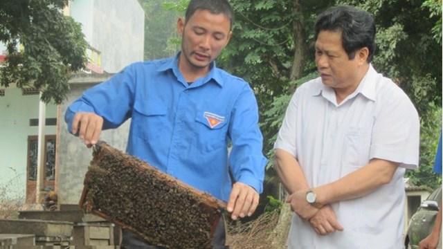 Bí thư Tỉnh ủy Tuyên Quang Nguyễn Sáng Vang (bên phải) đang xem mô hình nuôi ong của anh Trần Xuân Phong