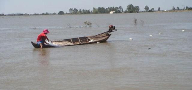 Nông dân thả lưới bắt cá.