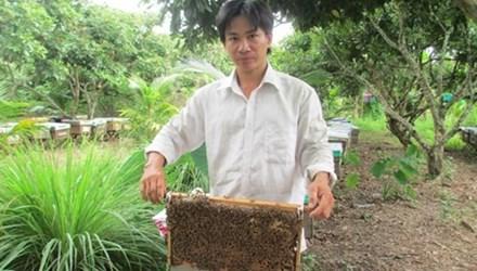 Anh Điền bên những kèo ong đang cho mật.