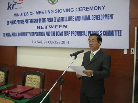 Ông Nguyễn Thanh Hùng - Phó chủ tịch UBND tỉnh Đồng Tháp phát biểu tại lễ ký kết