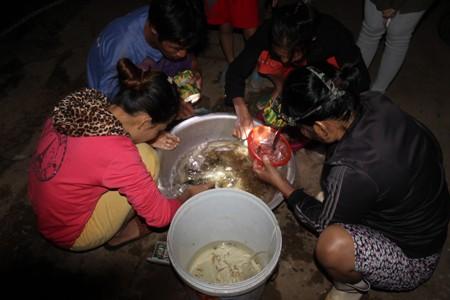 Sau khi đưa lên bờ, người dân sẽ tiến hành phân loại, tách riêng cá mú để vào xô nước rồi bán lại cho thương lái